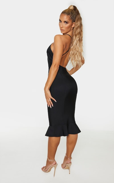 Black Bandage Cross Strap Open Back Frill Hem Midi Dress