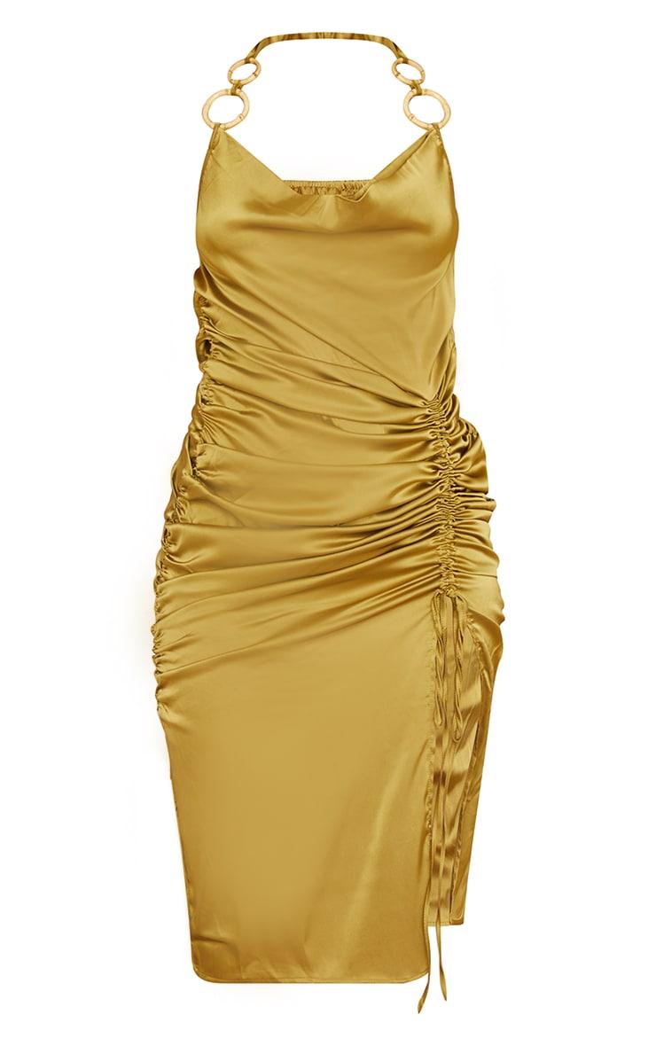 Olive Satin Halterneck Ring Detail Ruched Midi Dress 5