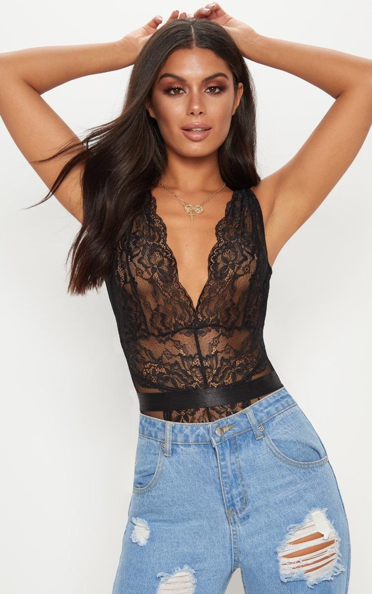4072228893 Black Lace Bodysuit image 1