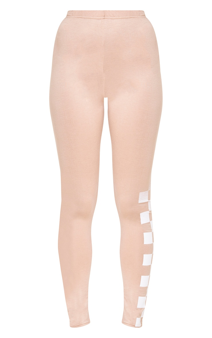 Nude Checkboard Print Leggings 3