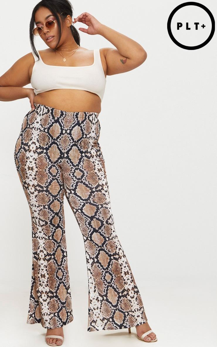 Plus Tan Snake Print Basic Flared Trousers 1