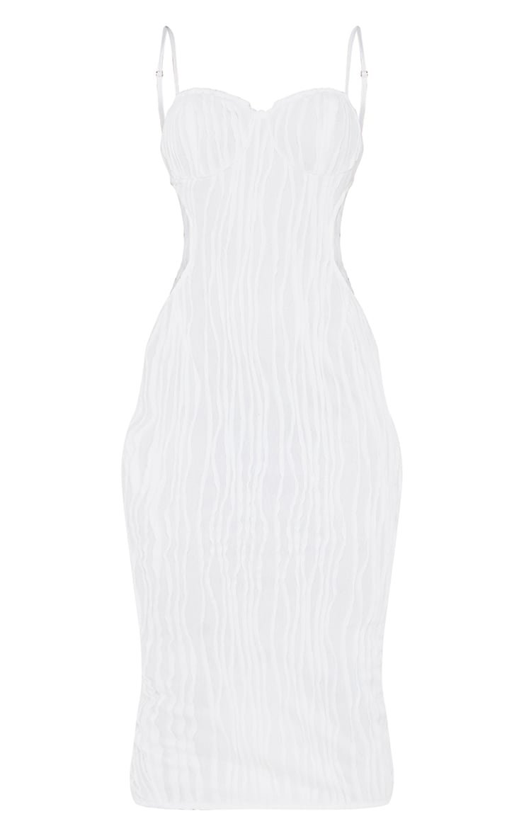 White Exposed Seam Strappy Cut Out Cup Detail Midi Dress 5