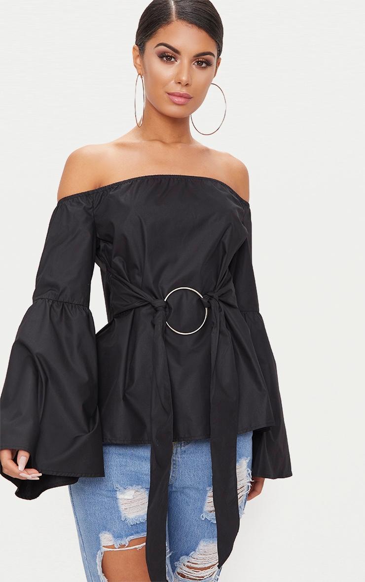 Chemise bardot noire à détail anneau 1