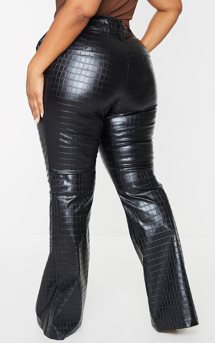 Plus Black Faux Leather Croc Embossed Flare Trousers 3