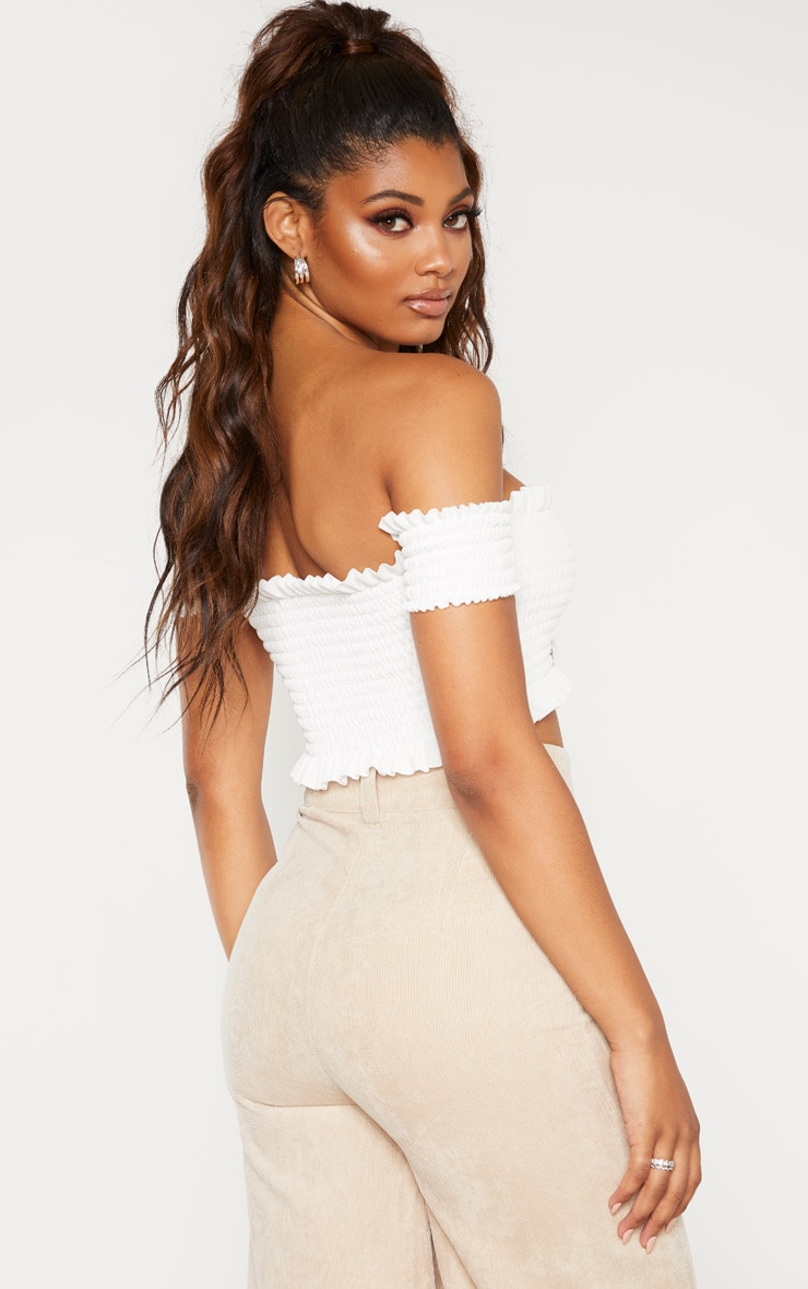 Tall White Shirred Bardot Crop Top 2