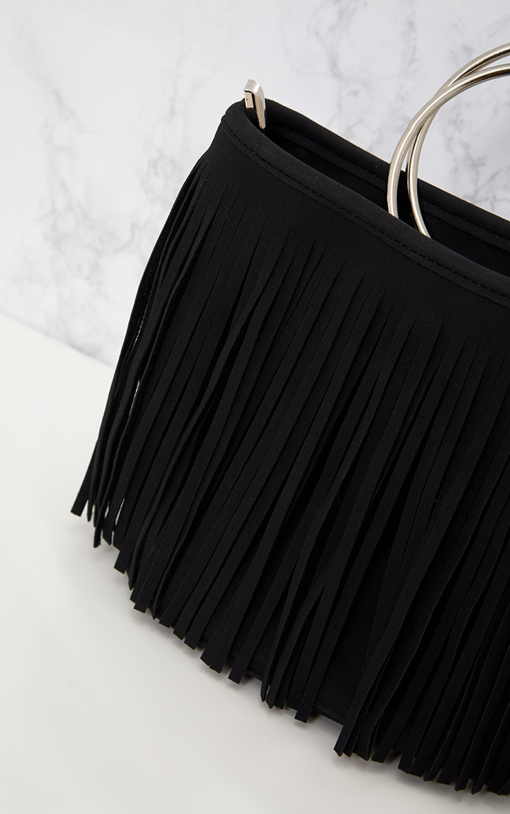 Black Fringed Hoop Handle Bag 3