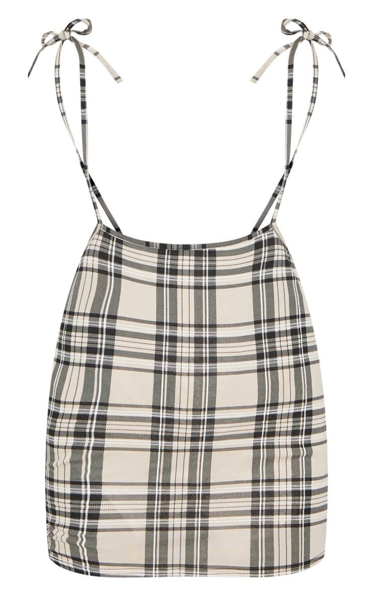 Stone Check Print Tie Shoulder Jersey Pinafore Dress 5