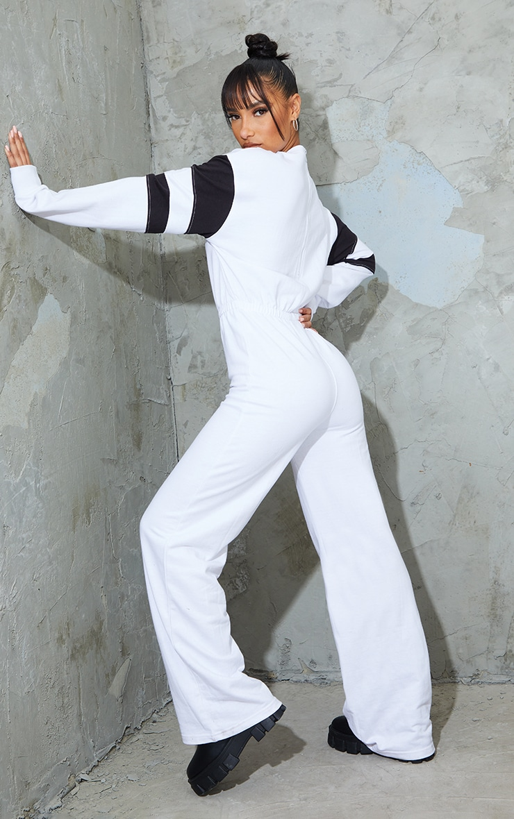 PRETTYLITTLETHING White Contrast Sleeve Sweat Jumpsuit 2