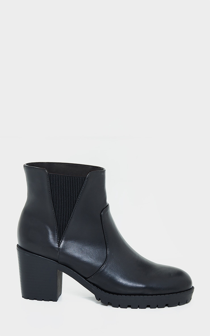 Black Basic PU Cleated Sole Heeled Ankle Boots 3