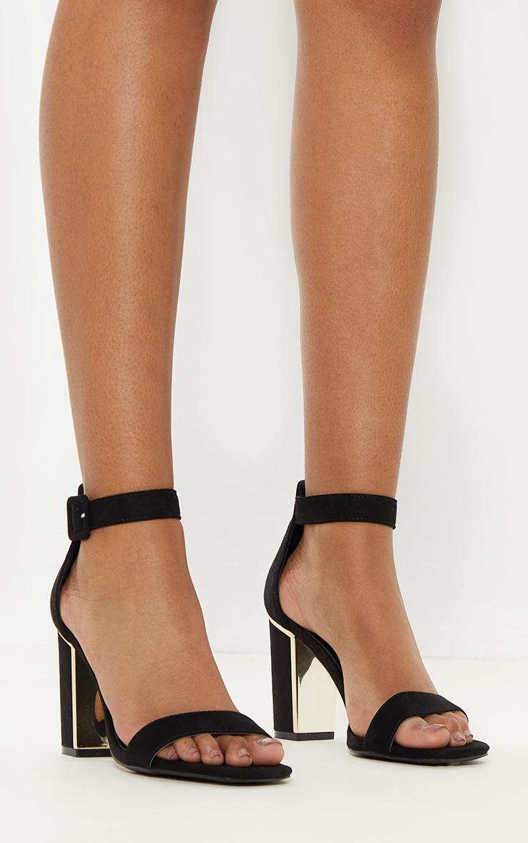 Black Metal Heel Detailed Block Heel Sandal