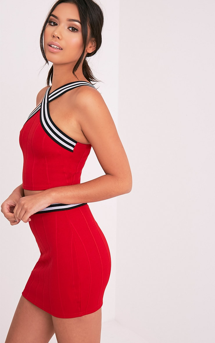Chantal Red Sporty Bandage Cross Front Crop Top 4