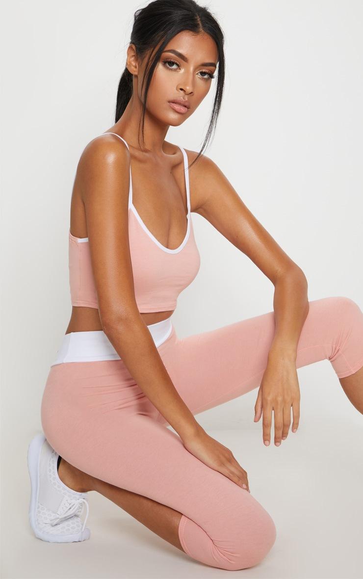 Pink Contrast Binding Plunge  Sports Crop Top 1