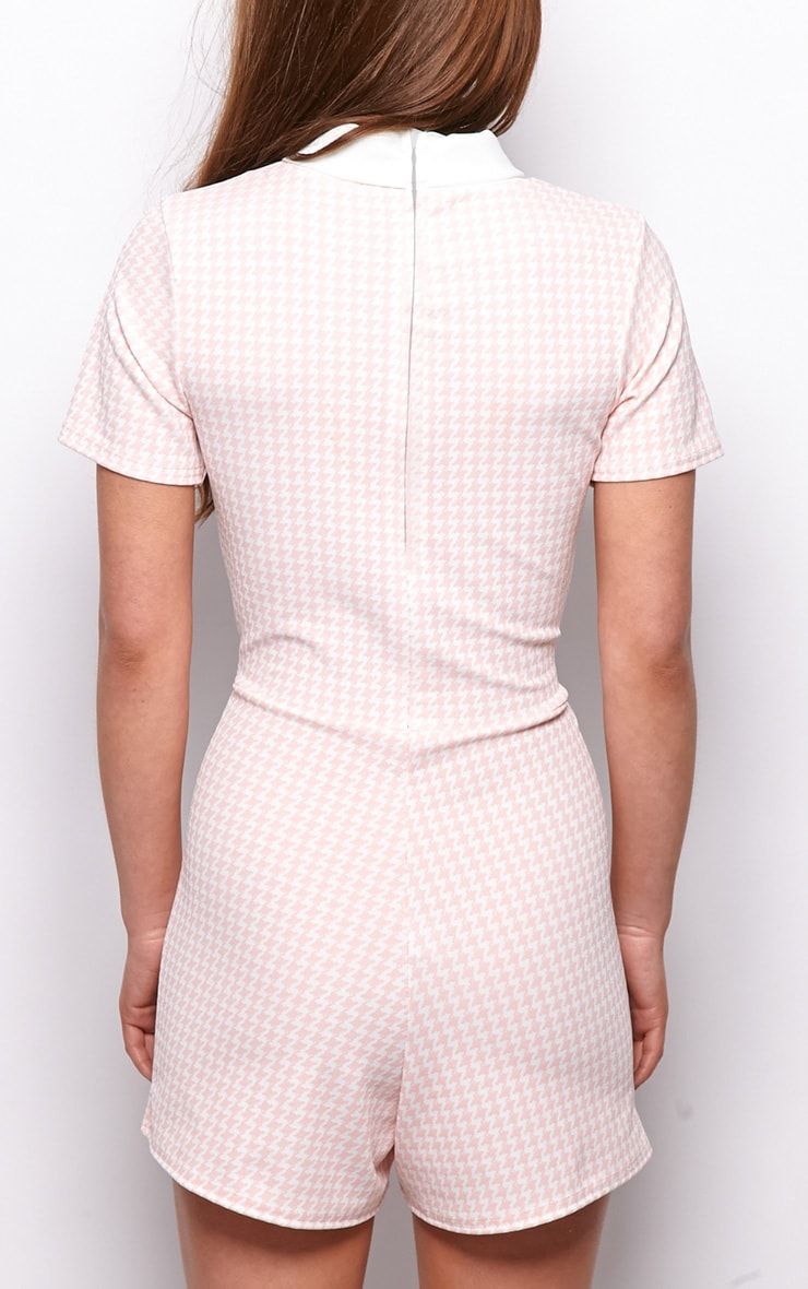Sara Pink & White Dogtooth Playsuit 2