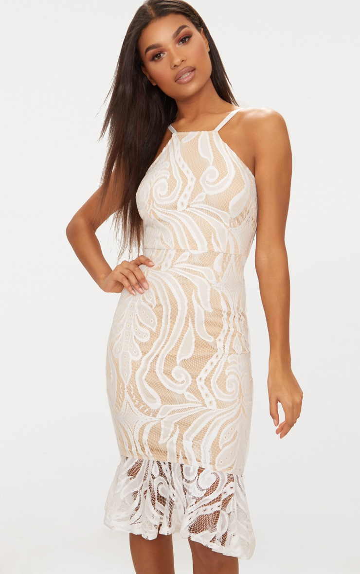 White Lace Frill Hem Midi Dress  1