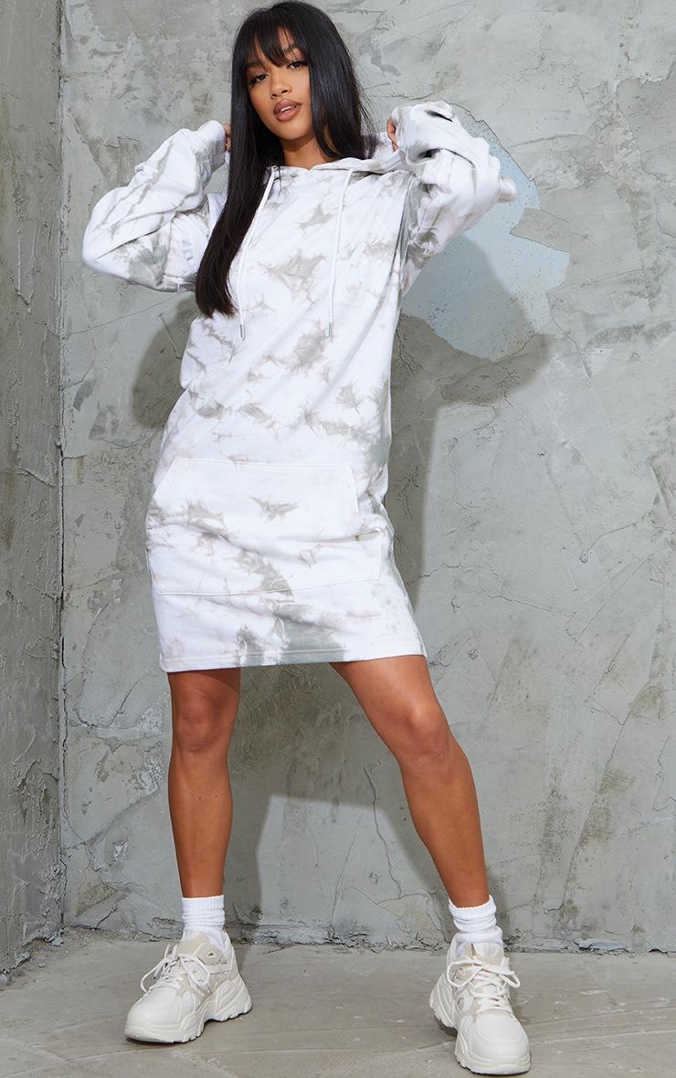 PRETTYLITTLETHING Petite Grey Tie Dye Sweater Dress 3