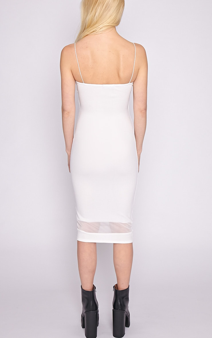 Ryleigh White Mesh Insert Midi Dress 2