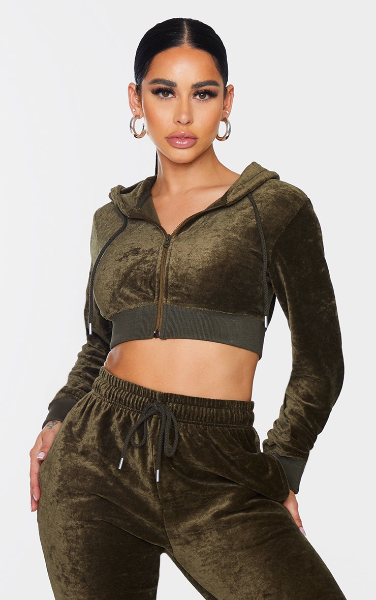 PRETTYLITTLETHING Shape Khaki Velour Extreme Crop Sweater 4