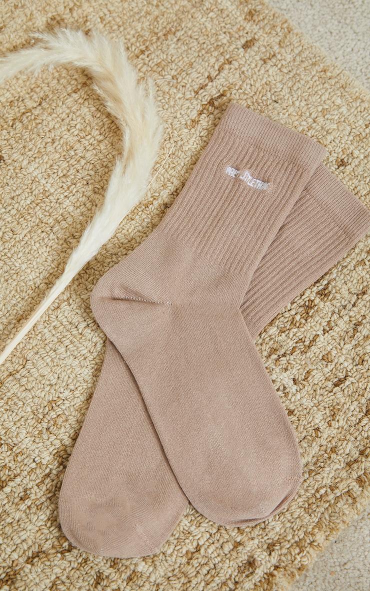 PRETTYLITTLETHING Truffle Ribbed Socks 3