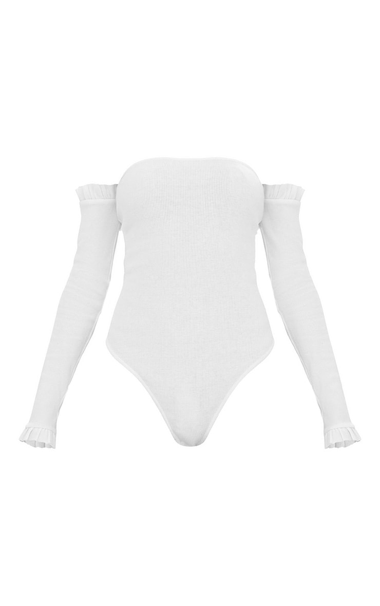 Body-string bardot blanc jersey côtelé manches volantées 3