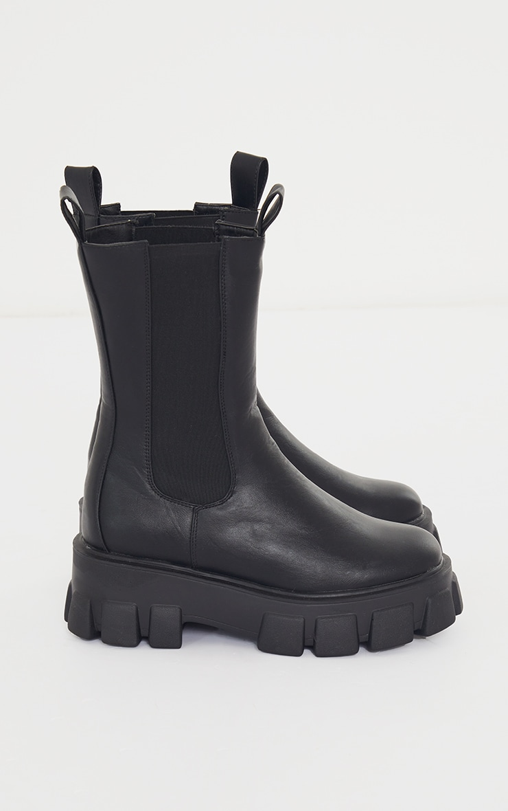 Black Wide Fit Extreme Chunky Sole Calf High Chelsea Boots 3