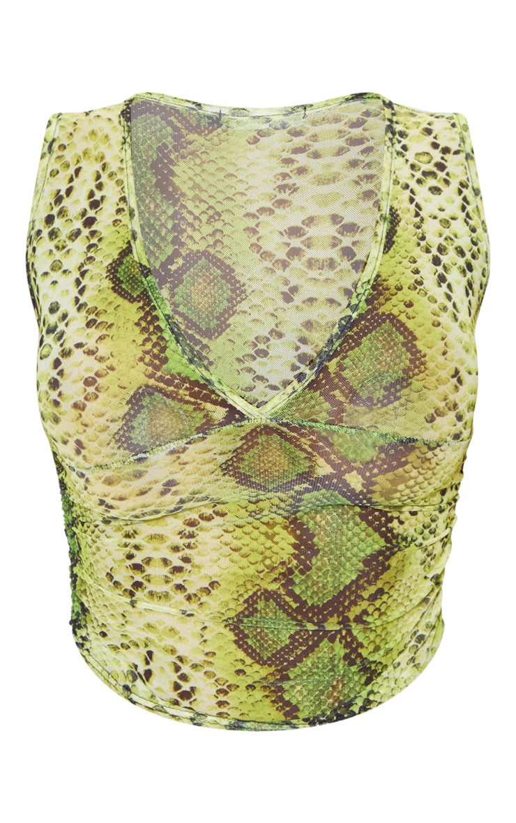 Lime Snake Skin Mesh Side Ruched Long Top  3
