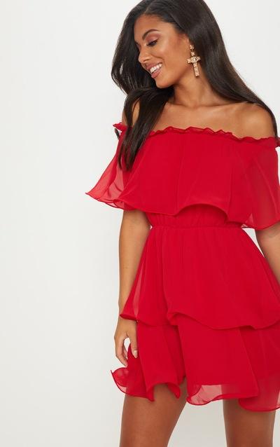 Red Chiffon Bardot Ruffle Tiered Dress