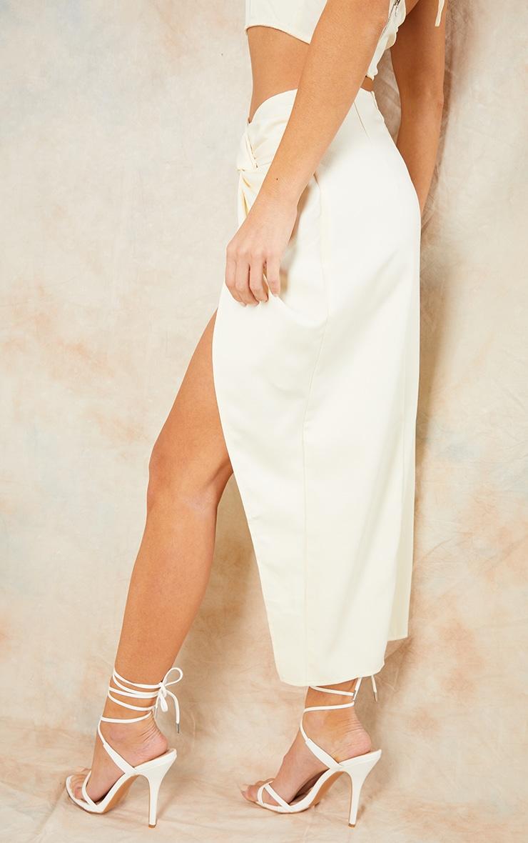 Cream Woven Knot Waist Split Leg Midaxi Skirt 3