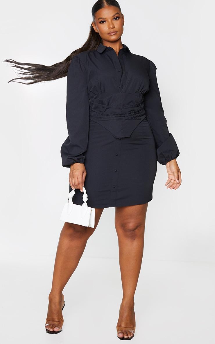 Plus Black Corset Detail Puff Sleeve Shift Dress 1
