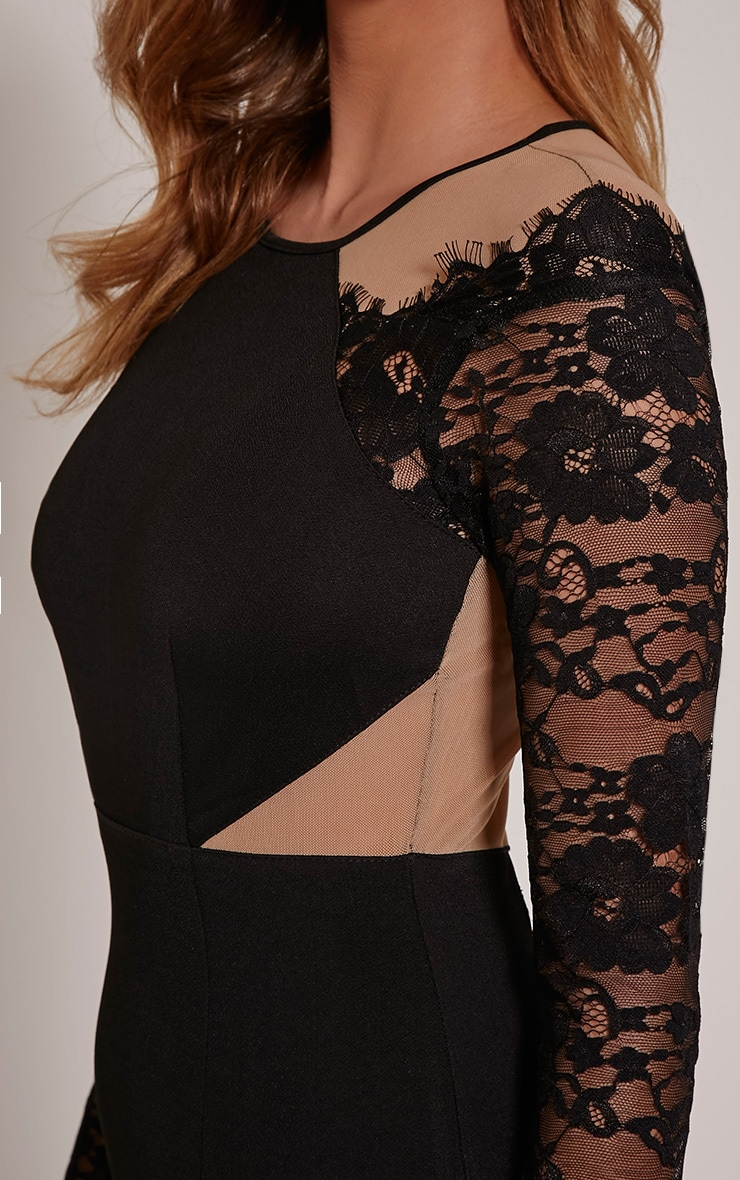 Zoe Black Lace Detail Mini Dress 5