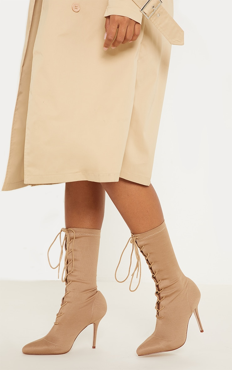 Nude Mid Heel Lace Up Ankle Boot  2