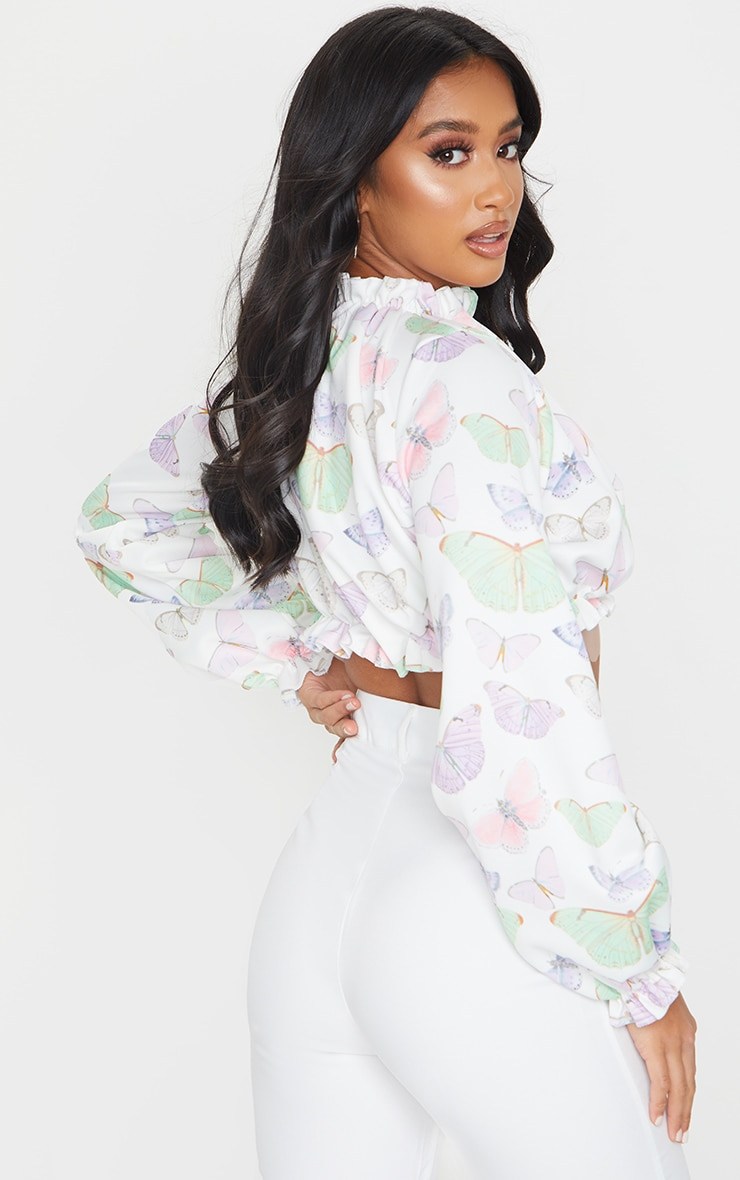 Petite White Butterfly Print Long Sleeve Ruffle Crepe Blouse 2