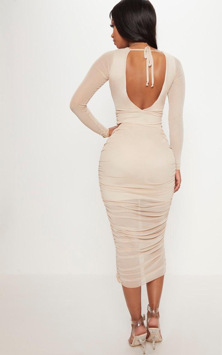 Shape Nude Ruched Mesh Longline Midi Dress 2