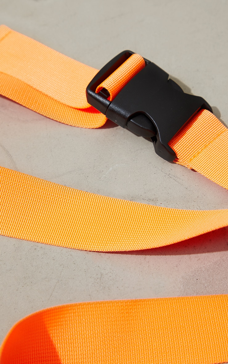 Neon Orange Slider Buckle Tape Belt 2