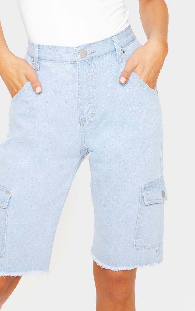 Light Wash Denim  Cargo Pocket Shorts  6