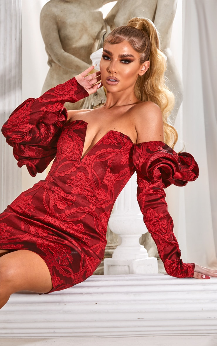 Red Puff Sleeve V Bar Jacquard Bodycon Dress 1