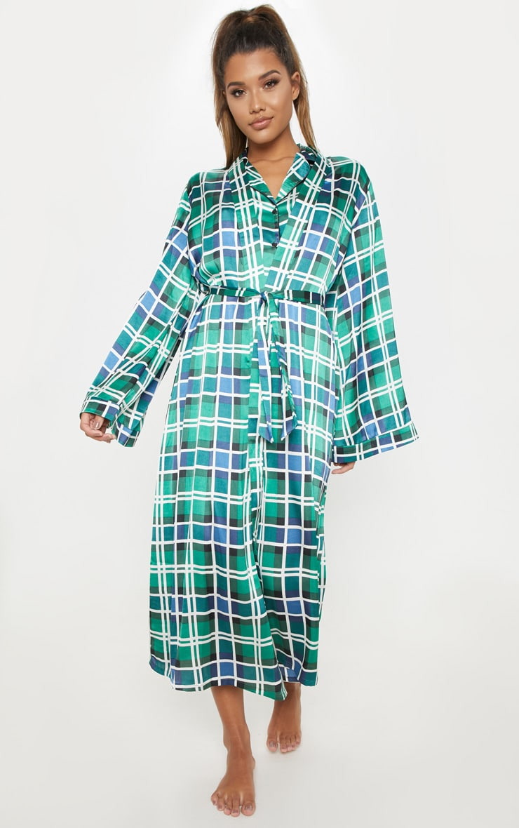 Green Check Print Long Sleeve Satin Robe 1