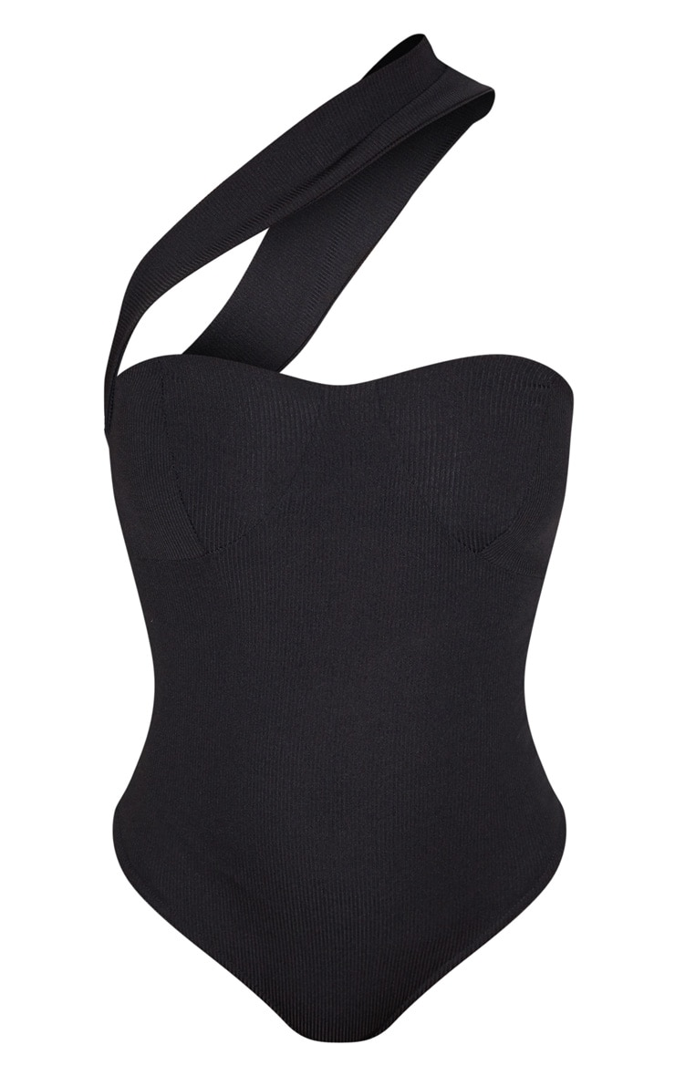 Black Rib Cross Body Strap Bodysuit 3