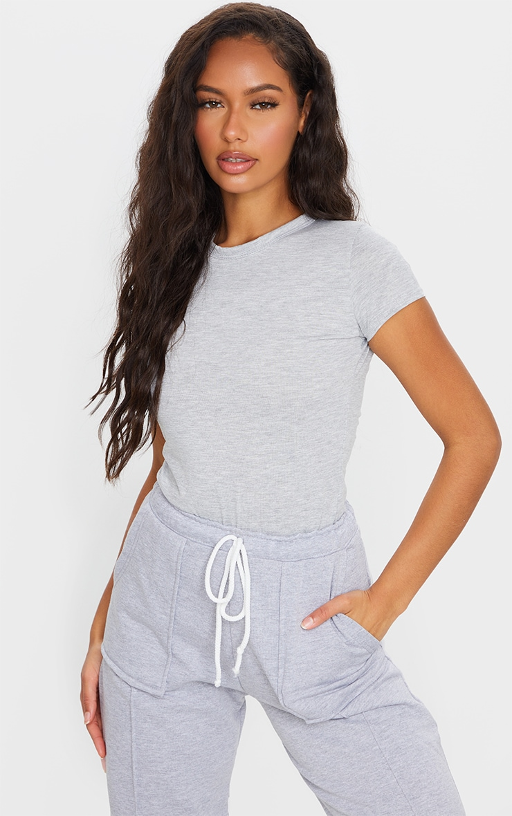 Grey Basic Jersey Crew Neck Fitted T Shirt 1