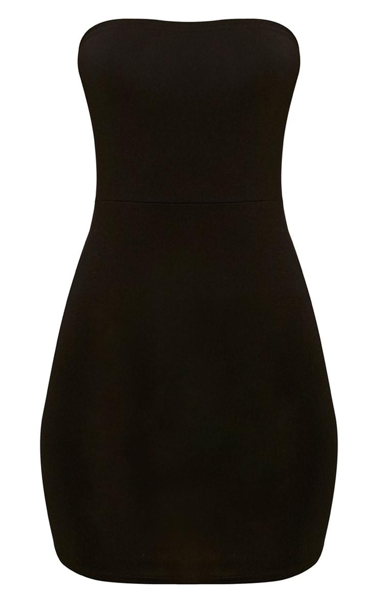Black Curve Hem Bandeau Bodycon Dress 3