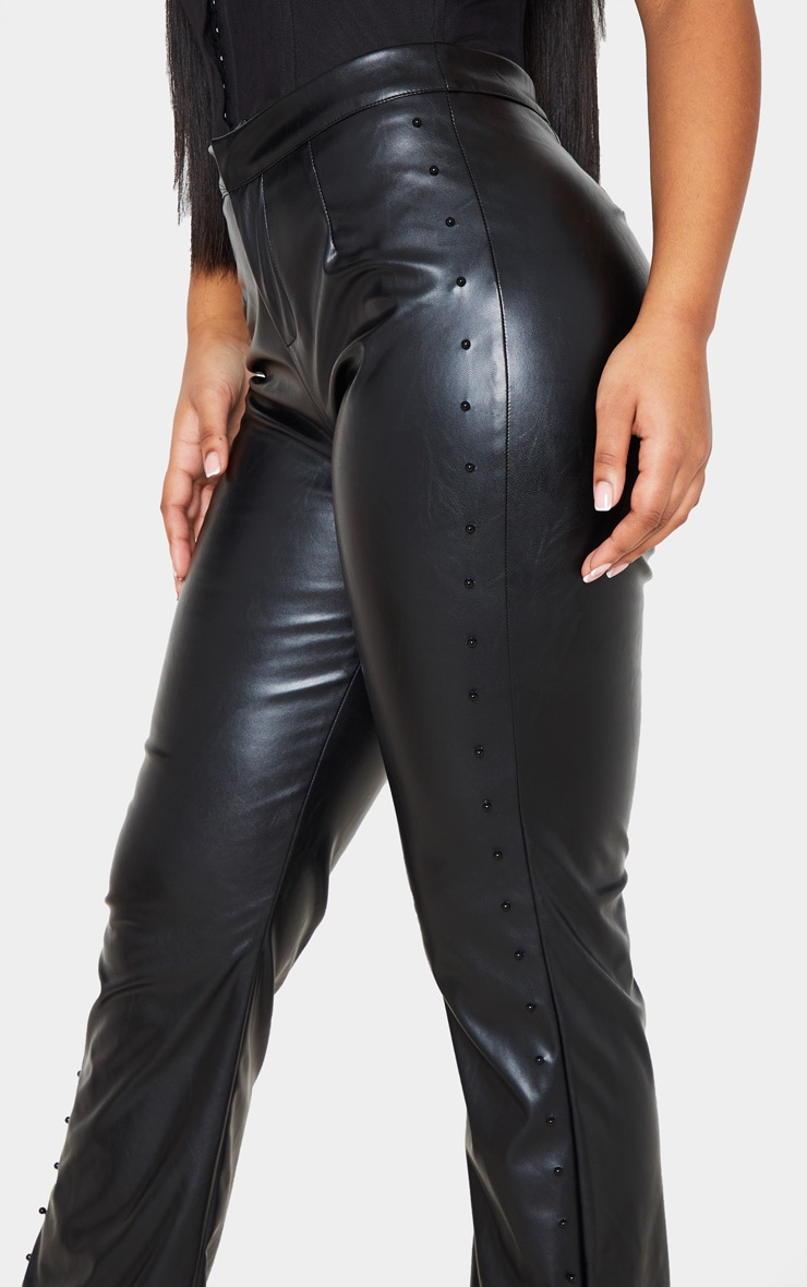 Black Beaded Side Faux Leather Flared Trouser 6