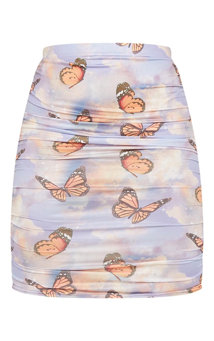 Light Blue Butterfly Cloud Print Ruched Slinky Mini Skirt 5