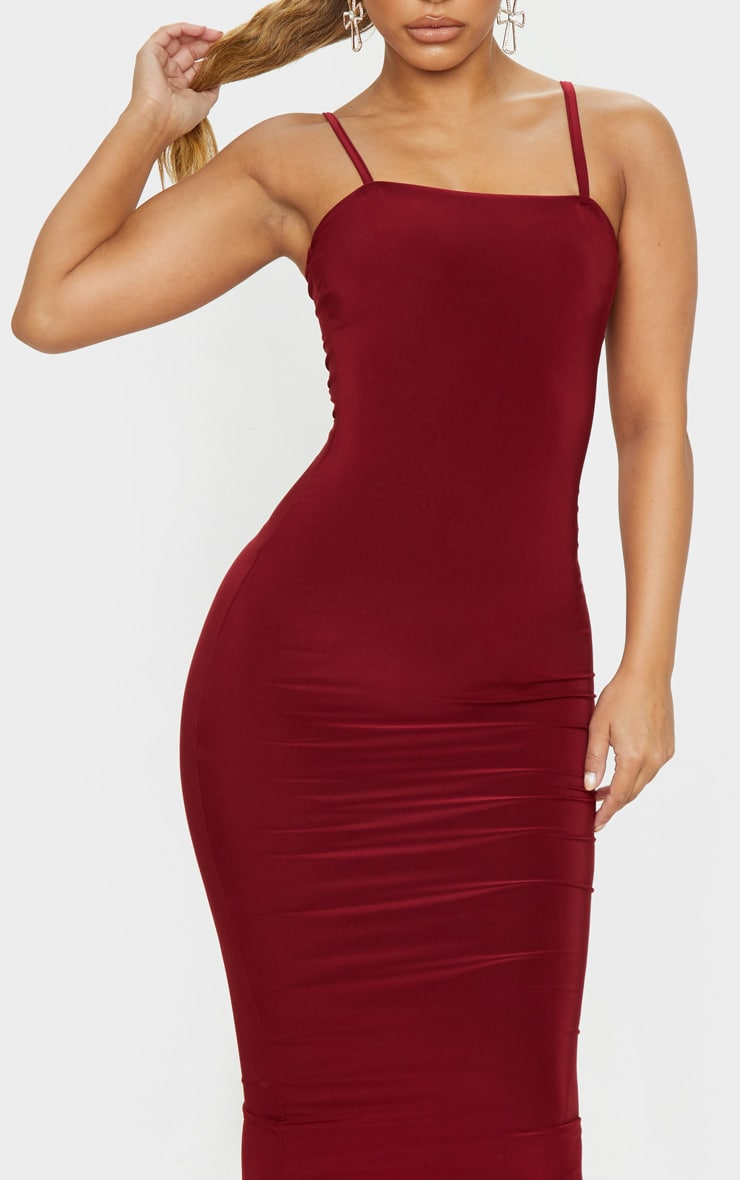 Petite Burgundy Square Neck Strappy Slinky Midaxi Dress 5