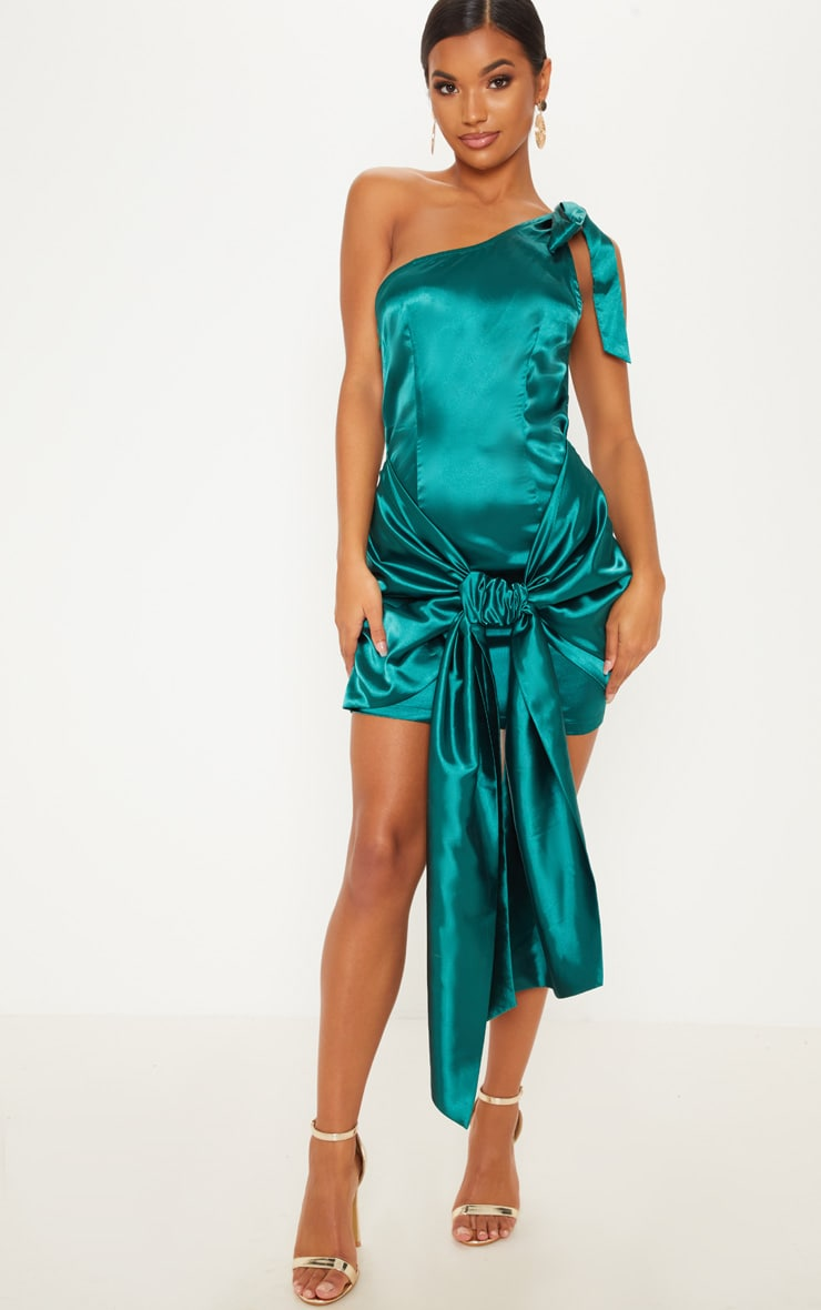 Emerald Green Satin One Shoulder Knot Detail Bodycon Dress 1