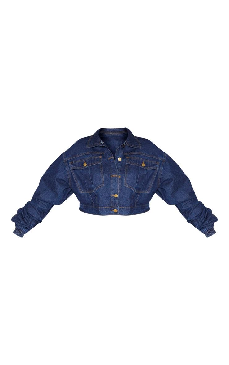 Plus Mid Wash Oversized Cropped Denim Jacket 3