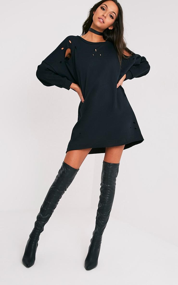 Emilia Black Distressed Raw Edge Sweater Dress 5
