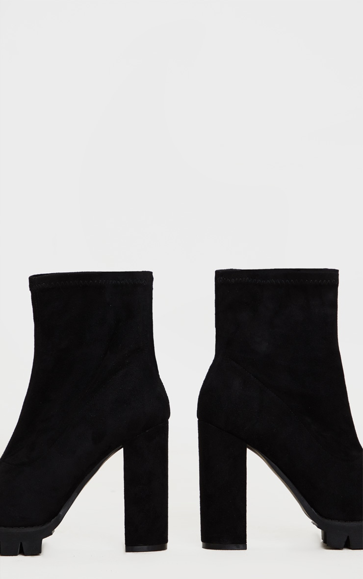 Black Cleated Platform Ankle Sock Boot 3