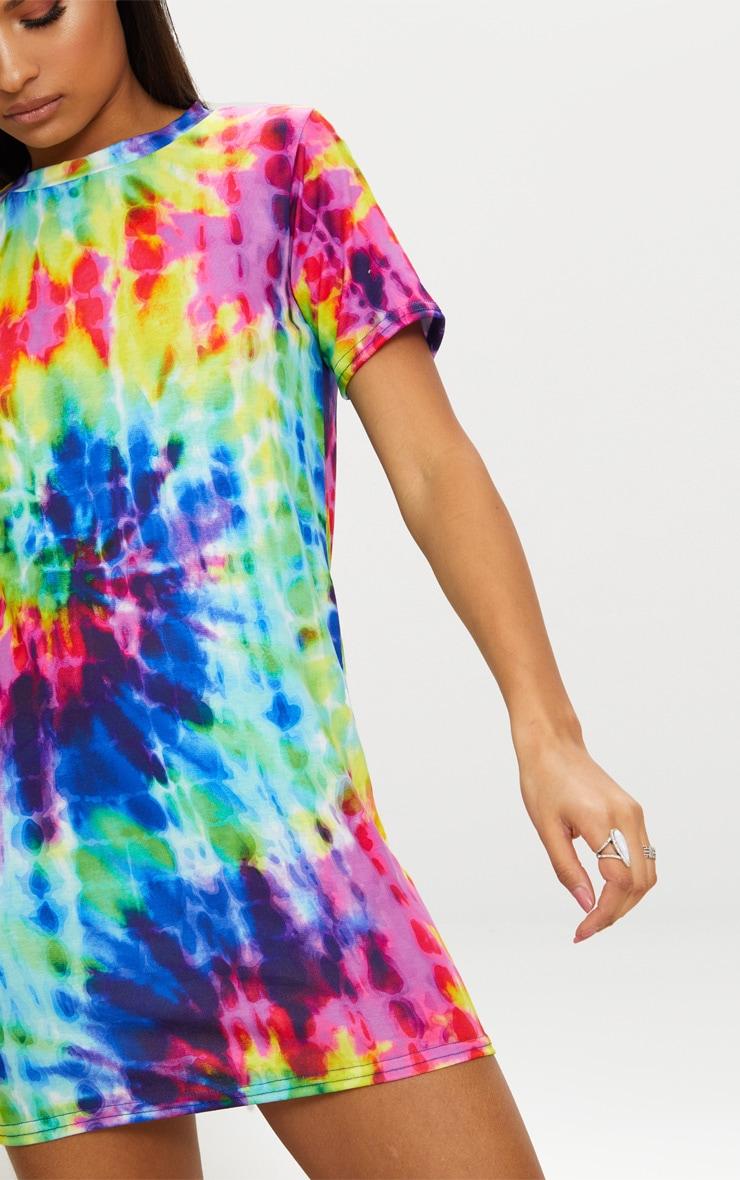 Multi Tie Dye Short Sleeve T Shirt Dress 5