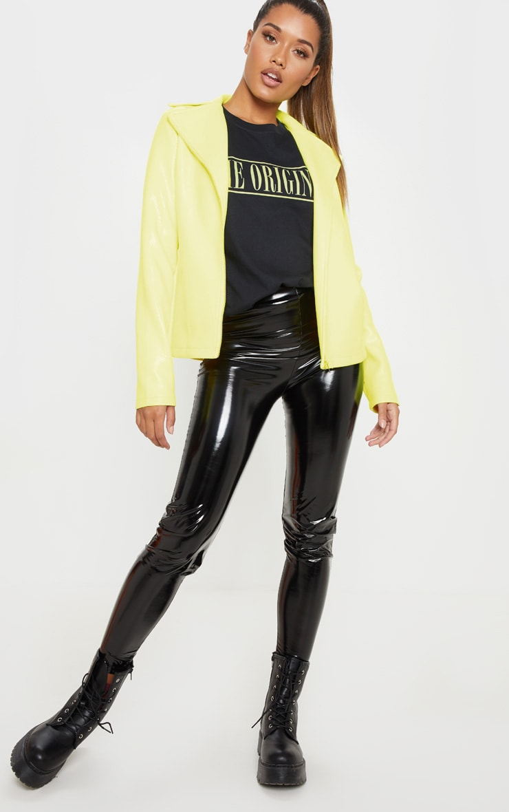 Neon Yellow Snake PU Biker Jacket  4