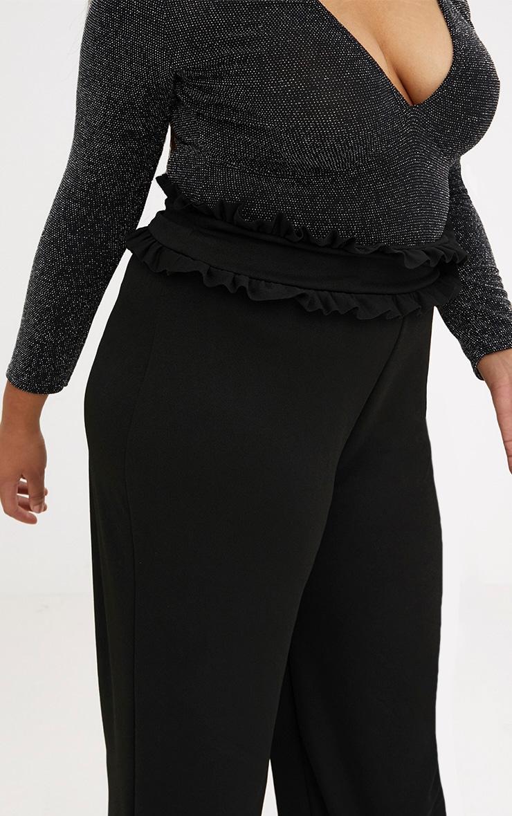 Plus Black Frill Waist Flare Trousers 5