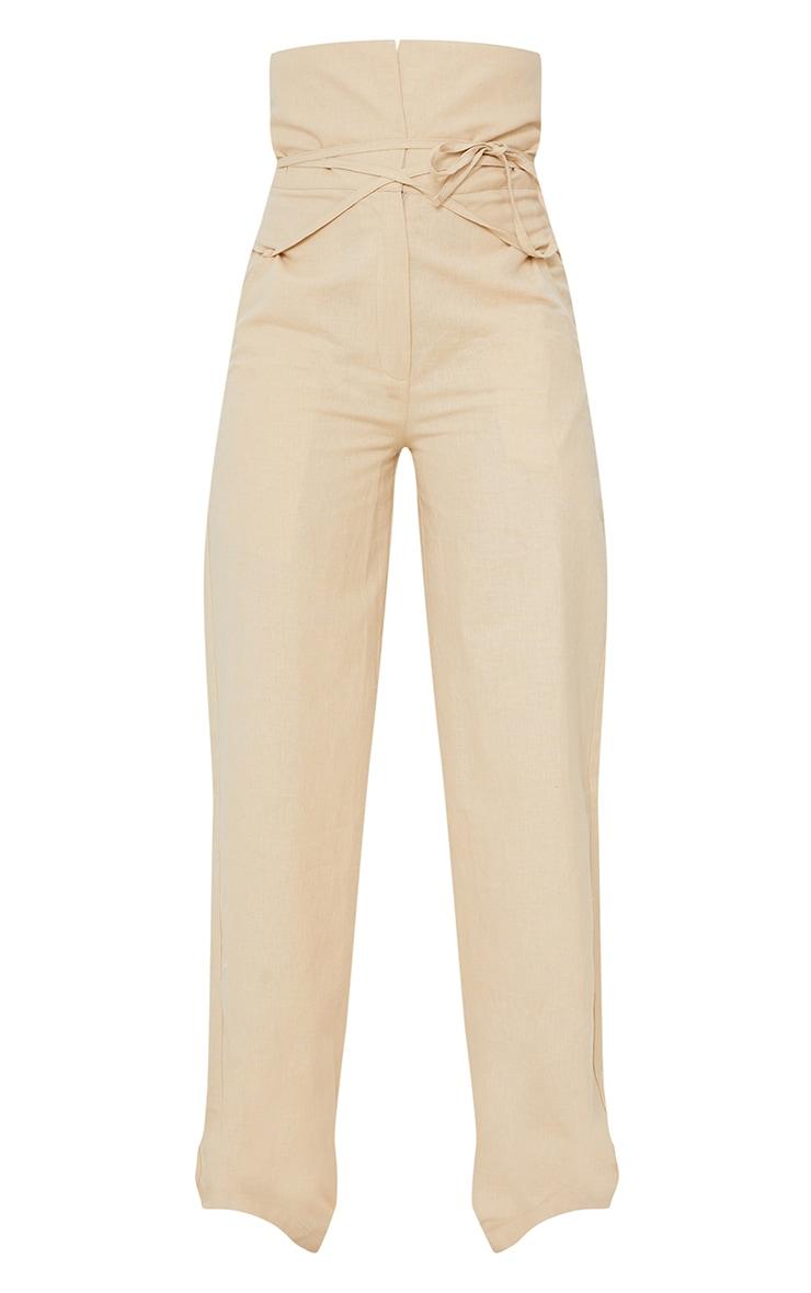 Stone High Waisted Linen Wide Leg Pants 5